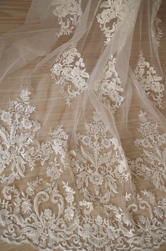 heavy beaded Lace Fabric ivory white bridal lace fabric with beading embroidery floral by the yard black lace fabric yardage
