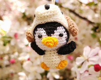 Penguin Free shipping ,Dog hat ,Finished product ,hand crochet  , high quality  .Strap ornament ,Key chain .Car mirror hanger.