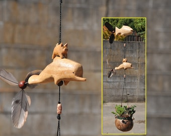 Dolphin,Fish and little pig hanging planter,coconut pot ,good for small plants or Air plants