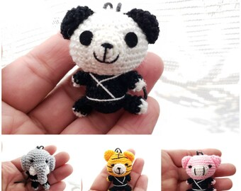 """Karate  animals team(free shipping) finished doll. 1.5"""" height ,hand crochet ,keychain, ornament, car mirror hanging accessories ."""