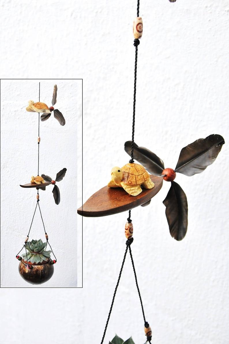 Turtles Surfing Board Coconut Shell Pot Outdoor Patio Etsy