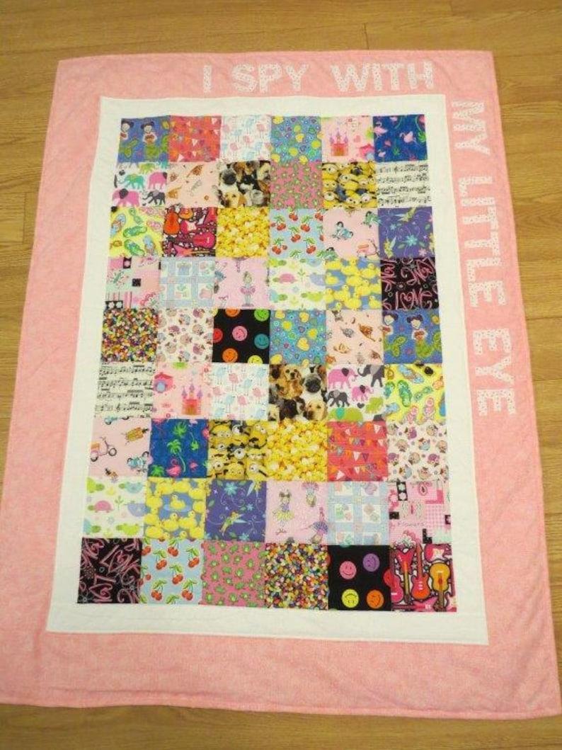 Pink I-Spy Toddler Quilt