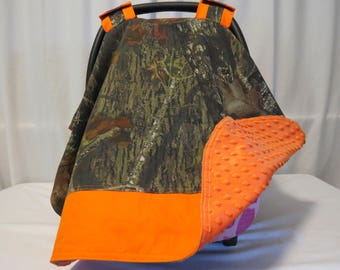 """Camo Mossy Oak Fabric Car Seat Canopy -  Cover - Carrier Cover Minky backed - Nursing Cover - Blanket - Universal Fit - 34"""" x 41"""""""