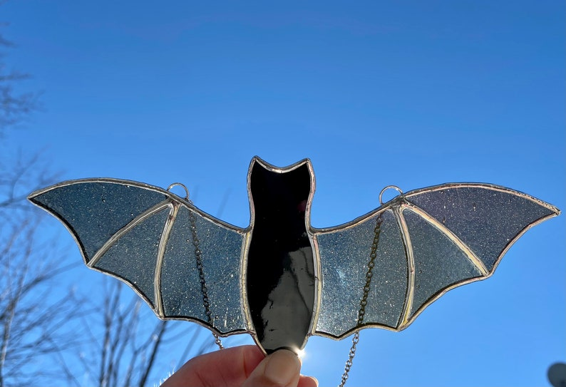 Reversible Stained Glass Bat Sun Catchers