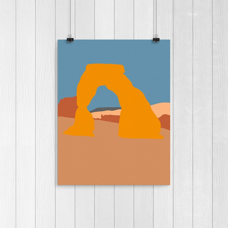 Arches National Park Delicate Arch Illustration  8.5x11 Inch image 0