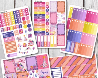 Birthday Girl Weekly Kit Planner Stickers Designed for Erin Condren Life Planner Vertical
