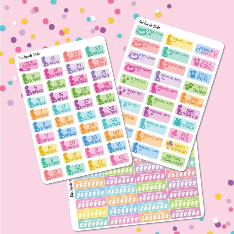 Prenatal Pregnancy Planning Planner Sticker Kit image 0