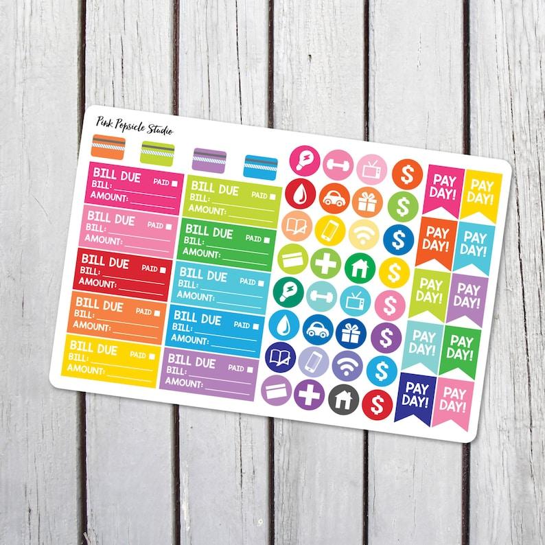 Financial Sampler Planner Stickers Designed for Erin Condren image 0