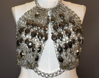 db2b9c6f06363a Marcasite Bead   Silver Chainmail Halter Top Bralette Blouse Shirt For  Burning Man