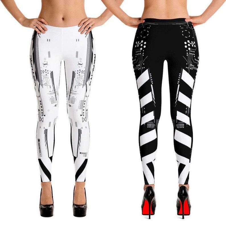 Cyborg Armor Leggings - Burning Man SciFi Leggings - Robot Pants -  Steampunk Capri Pants, EDM Playa Festival Clothing - Workout Rave Wear