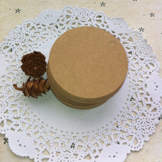 4cm x 4cm |100 200500pcs round tag blank kraft paper Tags Die cut tags tags gift tag wine party wedding shower tags