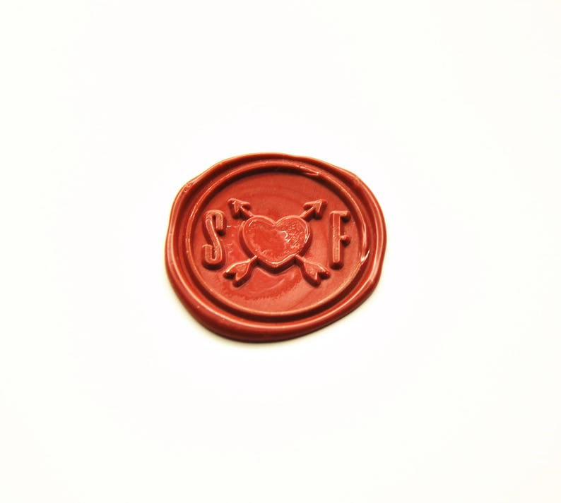 Arrows Through A Heart Wax Seal Stamp 2 Initials Monogram Custom
