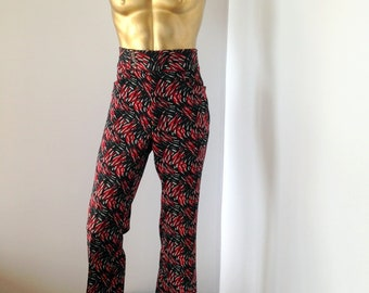 1d45569c3b883 Psychedelic print men vintage 1970s flare leg disco pants-red black and  white sz med