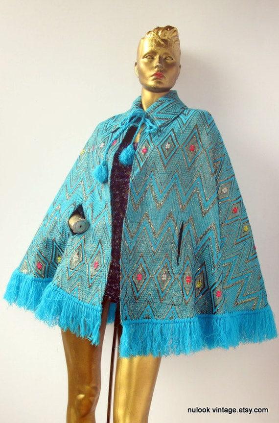 vintage 70s Guatemalan fringed metallic tapestry c