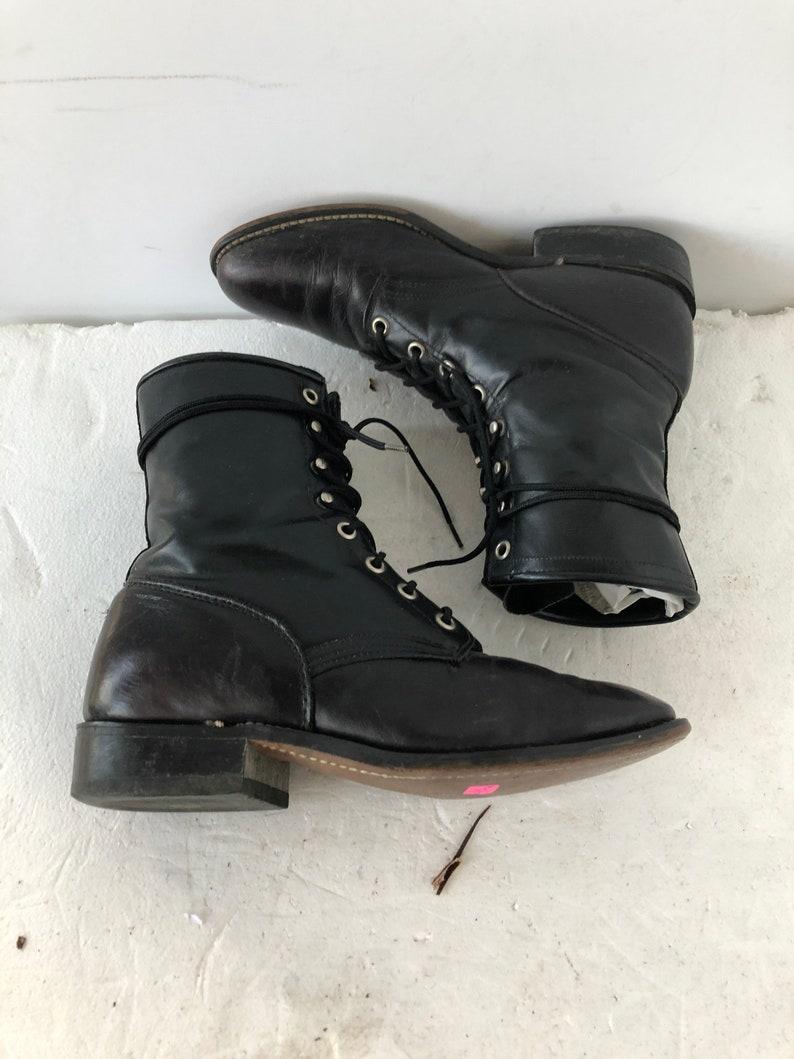 sustainable fashion sz 8.5 m vintage black leather LAREDO lace up granny combat boots