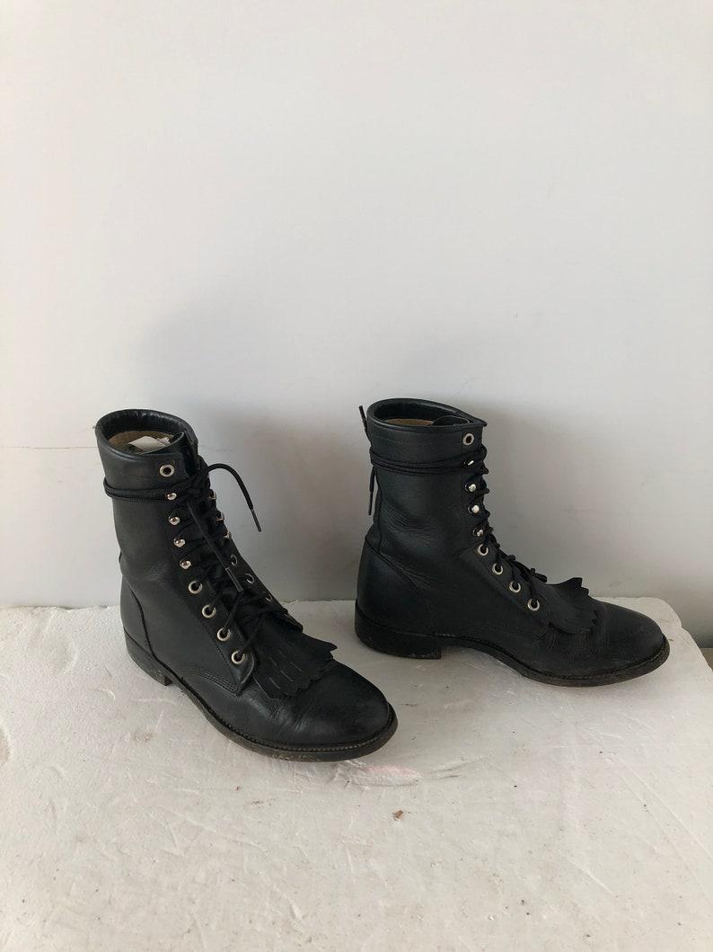 sz 8.5 m vintage black leather RODEO DRIVE lace up granny combat boots