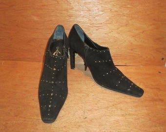 CASADEI vintage black suede ankle boots shoes sz 7.5