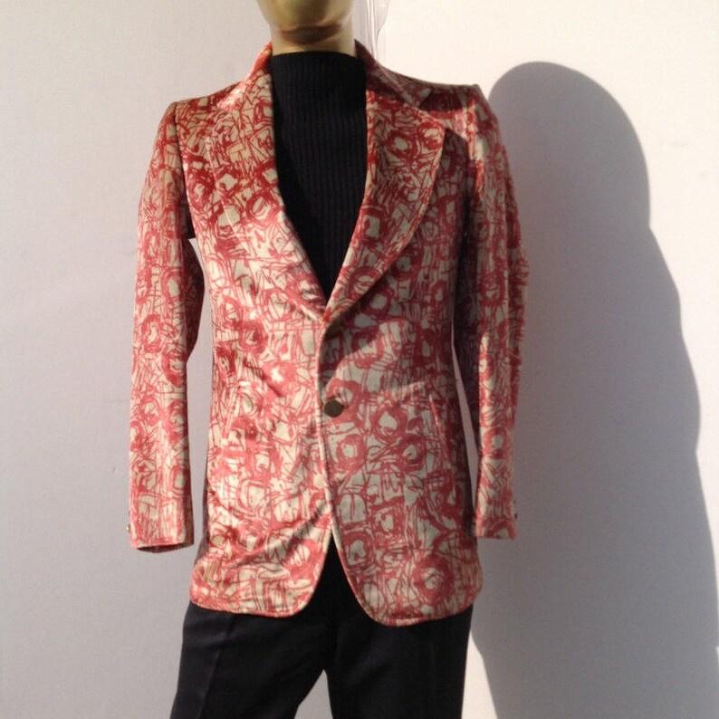 sz 38 r men vintage 70s pink  and cream color art print velvet jacket LIBERTO of FLORENCE label