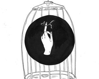 The Birdcage- Fine Art Print, Black and White Illustration