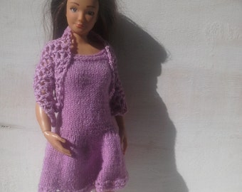 Lammily knitted dress and crocheted shawl, plain dress, MADE TO ORDER