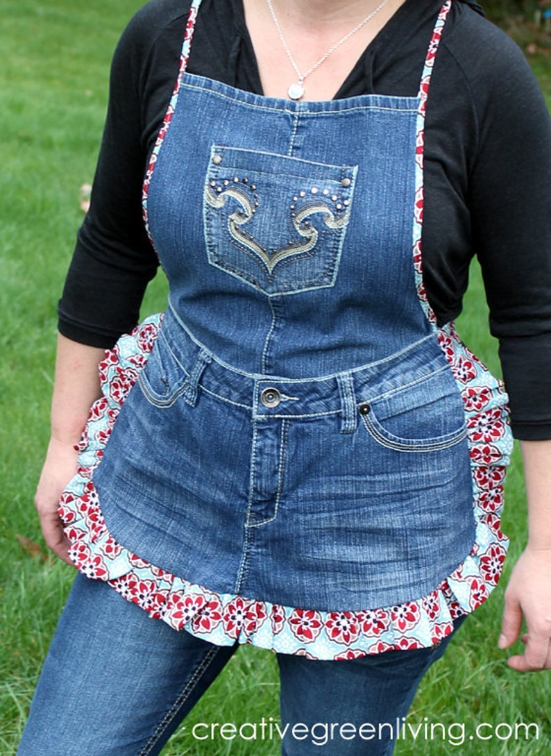 36b3298a1 Cute Apron from Jeans PDF DOWNLOADABLE Pattern | Etsy