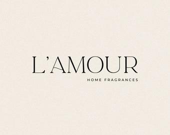 L'Amour Luxe & Feminine Minimalist Logo Design   Semi-Custom Logotype   Premade   Neutral   Boutique   Brand   Label   Style