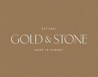 Gold & Stone Modern Minimalist Logo Design   Semi-Custom Logotype   Premade   Modern   Natural   Neutral   Luxury   Boutique   Brand   Style