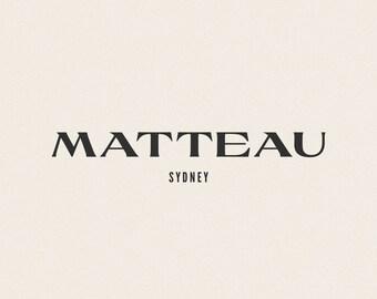 Mattaeu Modern Minimalist Logo Design   Semi-Custom Logotype   Premade   Modern   Natural   Neutral   Luxury   Boutique   Brand   Style