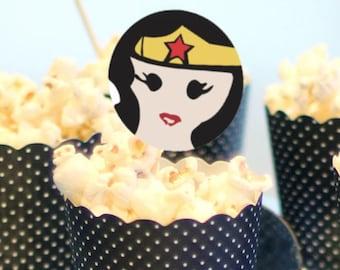 Wonderwoman Cupcake Topper Printout / Digital File