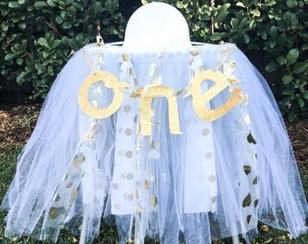 White & Gold Highchair Skirt / Garland / Bunting (customizable)