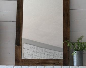 Reclaimed Wood Mirror, Large Mirror, Farmhouse Mirror, Rustic Mirror, Farmhouse Decor, Hanging Mirror, Bathroom Mirror, Vanity Mirror,Mirror