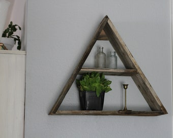 Wood Shelves, Reclaimed Wood Triangle Shelf, Triangle Shelf,  Essential Oil Shelf, Succulent Shelf, Rustic Triangle Shelf