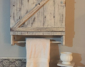 Bathroom Cabinet, Reclaimed Wood Shelves, Bathroom Organization, Towel Rack With Shelf,Bathroom Wall Cabinet,Farmhouse Bathroom,Wood Shelves