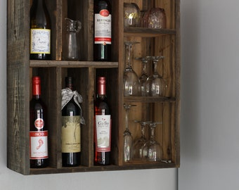 Wine Rack, Wine Shelf, Farmhouse Wine Rack, Reclaimed Wood Wine Rack, Wine Storage, Kitchen Shelf, Wall Hanging Wine Rack, Wine Cabinet