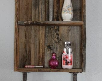 Rustic Medicine Cabinet, Industrial Shelf, Reclaimed Wood Shelves, Medicine  Cabinet, Bathroom Wall