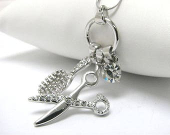 New Hair Stylist Crystal Scissors Brush Charm Necklace