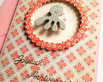 Octopus girl birthday card