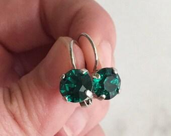 Holiday earrings - simple emerald earrings - emerald drop earrings - Christmas earrings for women - Christmas gift earrings - emerald studs