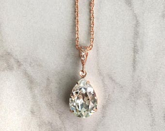 Rose gold wedding necklace - bridal pendant - wedding jewelry - bridesmaid necklace - teardrop pendant - Avery pendant