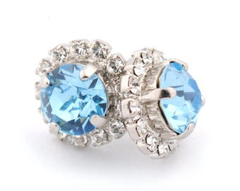 Aquamarine bridesmaids earrings - stud earrings - bridesmaids earrings - wedding earrings - aquamarine earrings