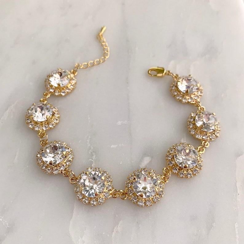 Gold wedding bracelet  bridal bracelet  crystal bracelet  image 0
