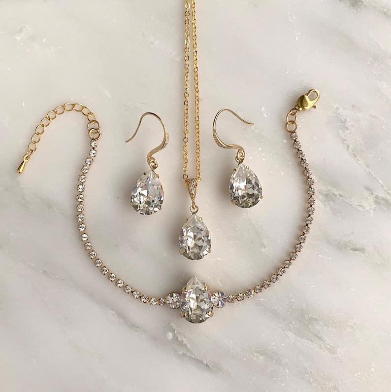 Bridal jewelry set  wedding jewelry  bridal earrings  image 0