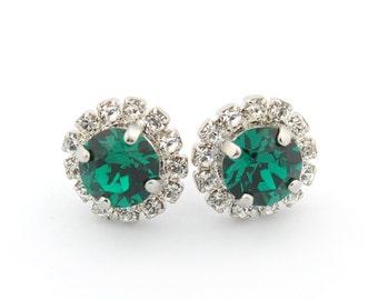Holiday earrings - emerald earrings - emerald stud earrings - Christmas gift earrings - Christmas earrings for women - emerald studs
