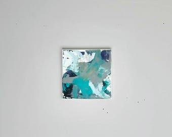 abstract art. acrylic on canvas. original painting. purple, teal and grey.