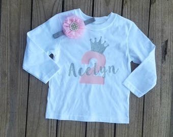Two Year Old Girl Birthday Outfit 2 Party Personalized Shirt Silver Glittered Trendy