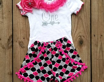 One Year Old Girl Birthday Outfit Pink Black Second