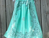 Mint Bandanna Print Dress, Paisley Pageant, Western Flower Girl Wear, Toddler Birthday Party, Outdoor Barn Wedding Theme, Cowgirls Style