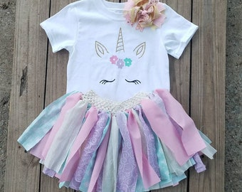 Unicorns Girls Birthday Outfit Horses Smash Cake Photo Prop 1 2 3 4 Year Old Toddler Party Material Tutu Pink Purple Mint Gold Glittered