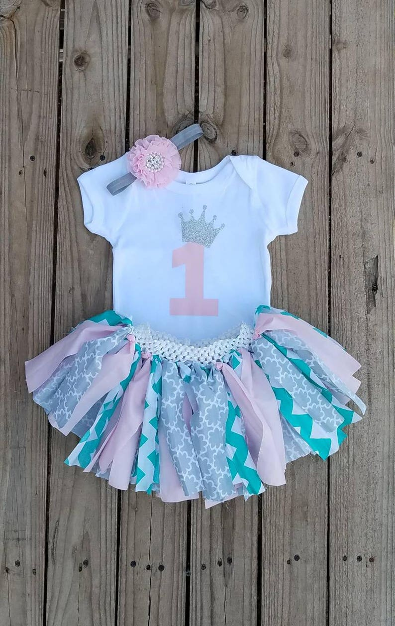 One Year Old Birthday Girls Outfit 1 Yr Party