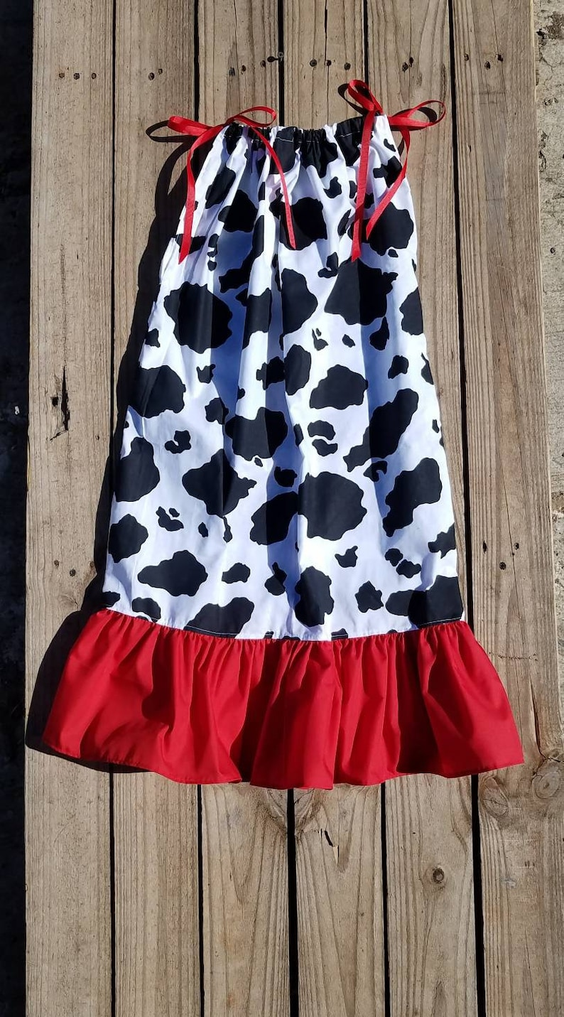 cd3a6347c5d275 Cow Print Birthday Theme Party Cowgirls Costume Red Black | Etsy